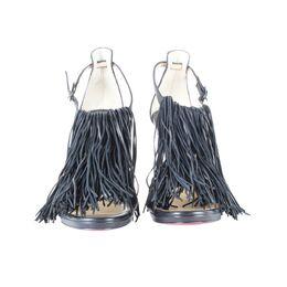 Christian Louboutin Black Leather Fringe Casanovella Sandals Size 37 187453