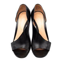 Gianvito Rossi Black Leather Asymmetric Half D'Orsay Sandals Size 36.5 187683