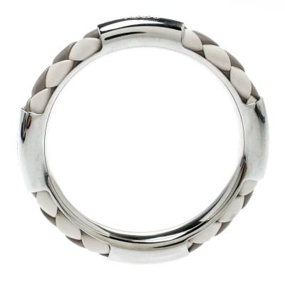 Tod's Woven Leather Silver Tone Bangle Bracelet 186912 - 3