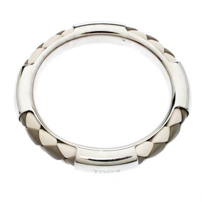 Tod's Woven Leather Silver Tone Bangle Bracelet 186912 - 4