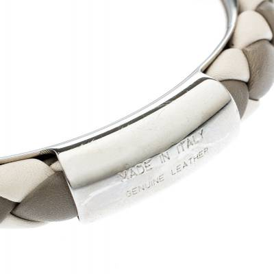 Tod's Woven Leather Silver Tone Bangle Bracelet 186912 - 5