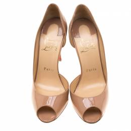 Christian Louboutin Beige Patent Leather Demi You Peep Toe D'orsay Pumps Size 36 187233