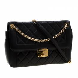 Chanel Black Quilted Leather Chic With Me Large Flap Shoulder Bag 195138