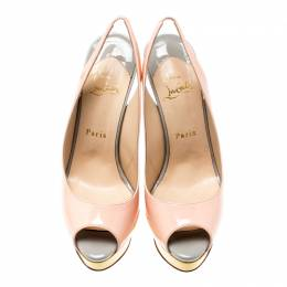 Christian Louboutin Multicolor Patent Leather Lady Peep Toe Platform Slingback Sandals Size 38 203400