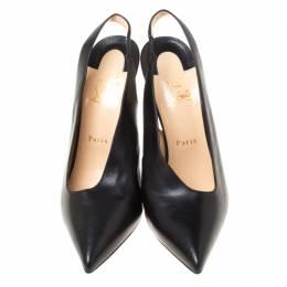 Christian Louboutin Black Leather Rivafish Pointed Toe Slingback Sandals Size 40.5 212493