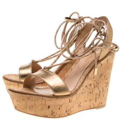 Gianvito Rossi Metallic Gold Leather Ankle Wrap Cork Wedge Sandals Size 37 185610 - 4