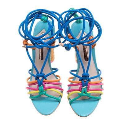Sophia Webster Multicolor Leather Cord Copacabana Cork Heel Ankle Wrap Sandals Size 38 186876 - 3