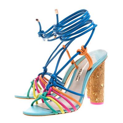 Sophia Webster Multicolor Leather Cord Copacabana Cork Heel Ankle Wrap Sandals Size 38 186876 - 4