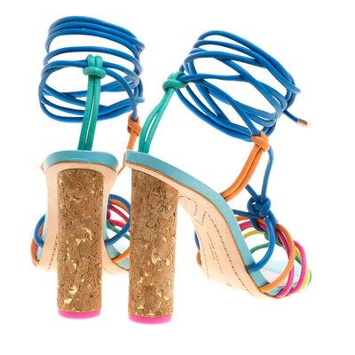 Sophia Webster Multicolor Leather Cord Copacabana Cork Heel Ankle Wrap Sandals Size 38 186876 - 5
