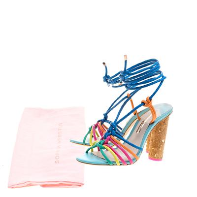 Sophia Webster Multicolor Leather Cord Copacabana Cork Heel Ankle Wrap Sandals Size 38 186876 - 8