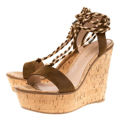 Gianvito Rossi Brown Suede Ankle Wrap Cork Wedge Sandals Size 38.5 185607 - 3