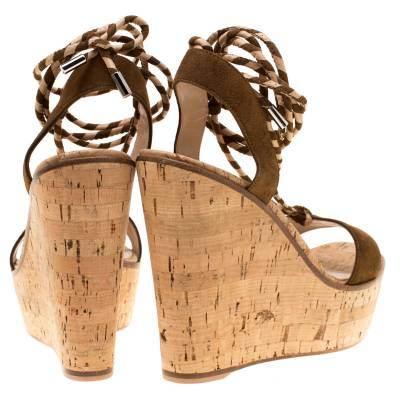 Gianvito Rossi Brown Suede Ankle Wrap Cork Wedge Sandals Size 37.5 192761 - 5