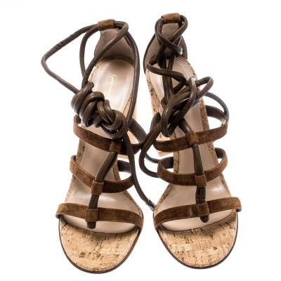 Gianvito Rossi Brown Suede And Leather Cayman Ankle Wrap Strappy Sandals Size 40.5 185489 - 2