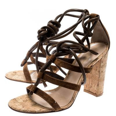Gianvito Rossi Brown Leather And Suede Block Cork Heel Strappy Sandals Size 40.5 183876 - 4