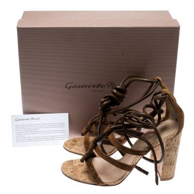 Gianvito Rossi Brown Suede And Leather Cayman Ankle Wrap Strappy Sandals Size 40.5 185489 - 7