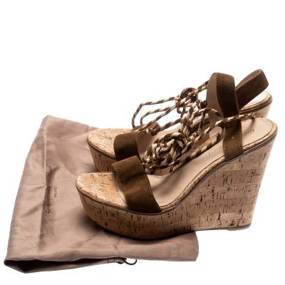 Gianvito Rossi Brown Suede Ankle Wrap Cork Wedge Sandals Size 38.5 192756 - 8