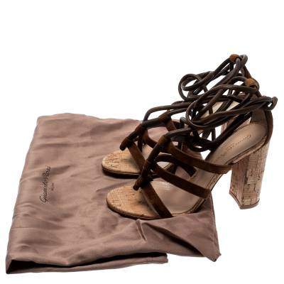Gianvito Rossi Brown Suede And Leather Cayman Ankle Wrap Strappy Sandals Size 38 186920 - 7
