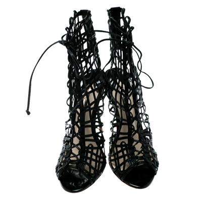 Sophia Webster Black Leather Delphine Peep Toe Cage Sandals Size 38.5 186871 - 2