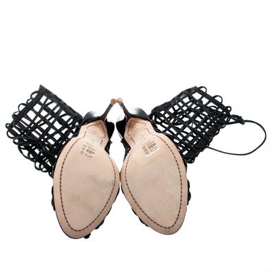 Sophia Webster Black Leather Delphine Peep Toe Cage Sandals Size 38.5 186871 - 5