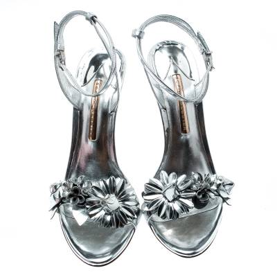Sophia Webster Metallic Silver Leather Lilico Floral Embellished Ankle Wrap Sandals Size 39.5 228443 - 2