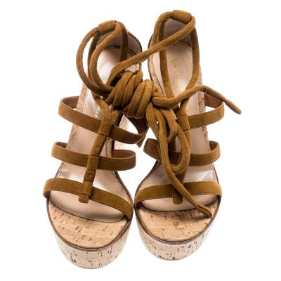 Gianvito Rossi Brown Suede Cork Wedge Ankle Wrap Open Toe Sandals Size 38 185505 - 2