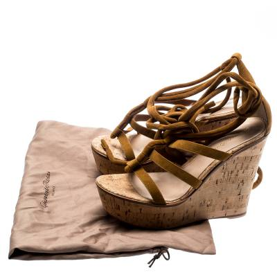 Gianvito Rossi Brown Suede Cork Wedge Ankle Wrap Open Toe Sandals Size 38 185505 - 7