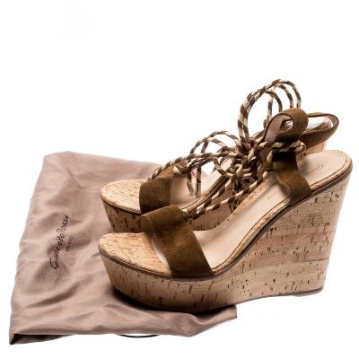 Gianvito Rossi Brown Suede Ankle Wrap Cork Wedge Sandals Size 38.5 185607 - 7