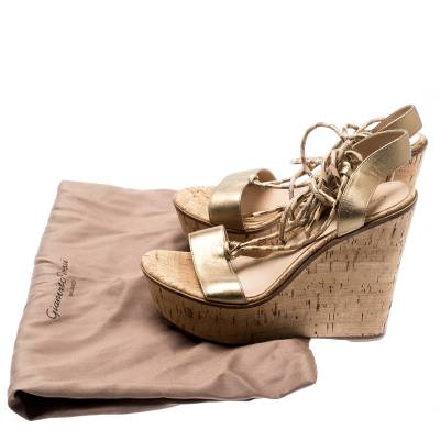 Gianvito Rossi Metallic Gold Leather Ankle Wrap Cork Wedge Sandals Size 37 185610 - 8