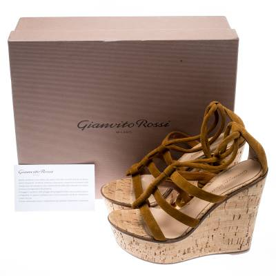 Gianvito Rossi Brown Suede Cork Wedge Ankle Wrap Strappy Sandals Size 36.5 185500 - 7