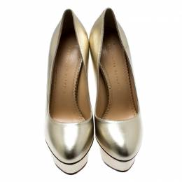 Charlotte Olympia Metallic Gold Leather Dolly Platform Pumps Size 39 187150