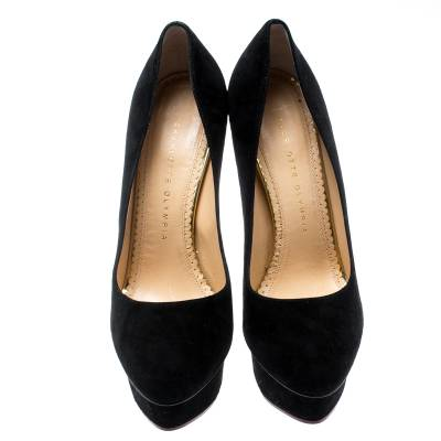 Charlotte Olympia Black Suede Dolly Platform Pumps Size 38.5 187155 - 2