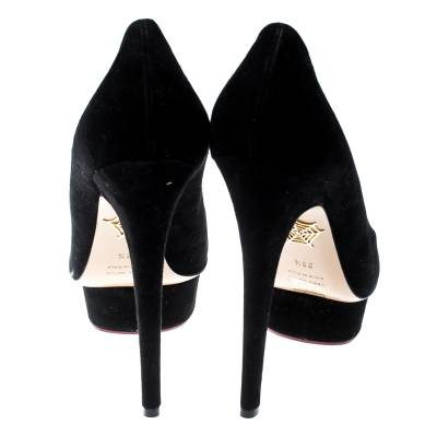 Charlotte Olympia Black Suede Dolly Platform Pumps Size 38.5 187155 - 4