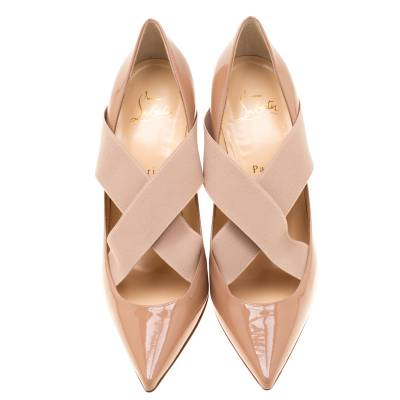 Christian Louboutin Beige Patent Leather Sharpstagram Cross Strap Pointed Toe Pumps Size 39.5 187176 - 2