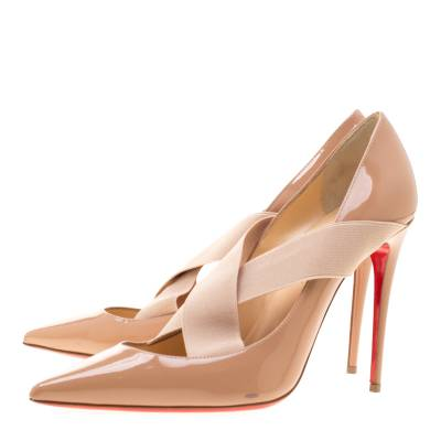 Christian Louboutin Beige Patent Leather Sharpstagram Cross Strap Pointed Toe Pumps Size 39.5 187176 - 3