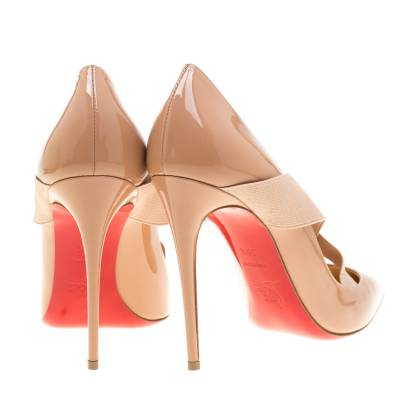 Christian Louboutin Beige Patent Leather Sharpstagram Cross Strap Pointed Toe Pumps Size 39.5 187176 - 4