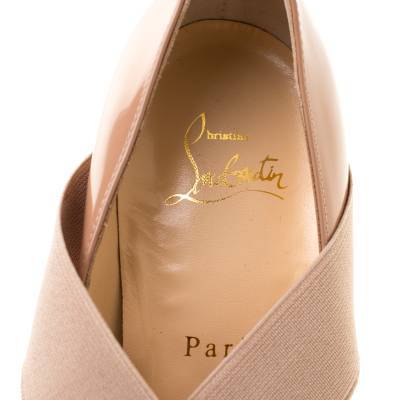 Christian Louboutin Beige Patent Leather Sharpstagram Cross Strap Pointed Toe Pumps Size 39.5 187176 - 6
