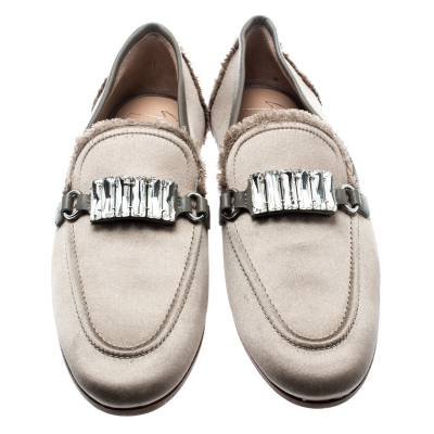 Giuseppe Zanotti Design Beige Satin Letizia Crystal Embellished Loafers Size 36 187161 - 2