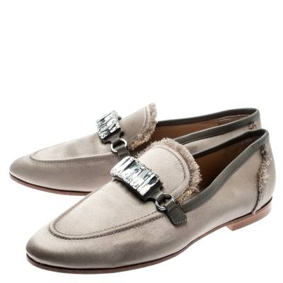 Giuseppe Zanotti Design Beige Satin Letizia Crystal Embellished Loafers Size 36 187161 - 3