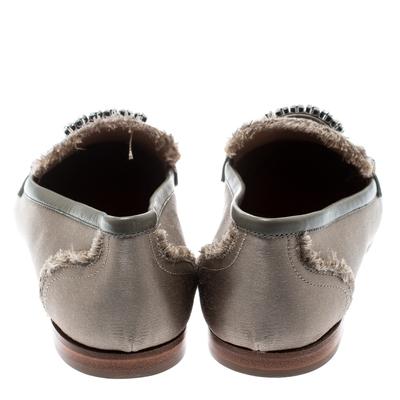 Giuseppe Zanotti Design Beige Satin Letizia Crystal Embellished Loafers Size 36 187161 - 4