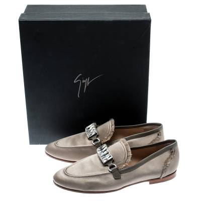 Giuseppe Zanotti Design Beige Satin Letizia Crystal Embellished Loafers Size 36 187161 - 7