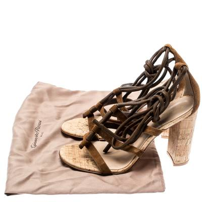 Gianvito Rossi Brown Leather And Suede Block Cork Heel Strappy Sandals Size 40.5 183876 - 8
