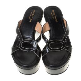 Sergio Rossi Black Patent Leather Wedge Platform Sandals Size 35.5 212022