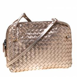 Bottega Veneta Rose Gold Metallic Intrecciato Leather Nodini Crossbody Bag 212291