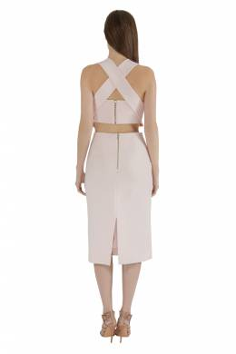 Nicholas Blush Pink Cut Out Detail Bandage Wrap Bodycon Dress M Nicholas Kirkwood 212514
