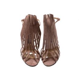 Sergio Rossi Beige Suede Leather Fringe Slingback Sandals Size 38 212534