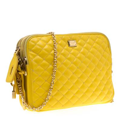 Dolce & Gabbana Yellow Quilted Leather Crossbody Bag 186796 - 2