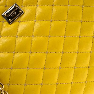 Dolce & Gabbana Yellow Quilted Leather Crossbody Bag 186796 - 4