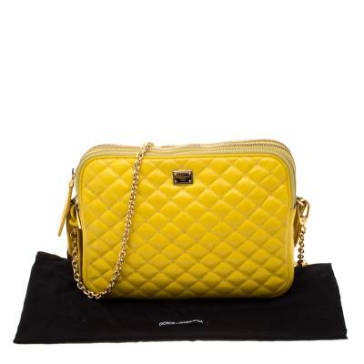Dolce & Gabbana Yellow Quilted Leather Crossbody Bag 186796 - 8