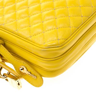 Dolce & Gabbana Yellow Quilted Leather Crossbody Bag 186796 - 10