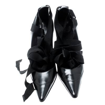 Gucci Black Leather Tom Ford Era Ribbon Tie Up Pointed Toe Pumps Size 36 184027 - 2